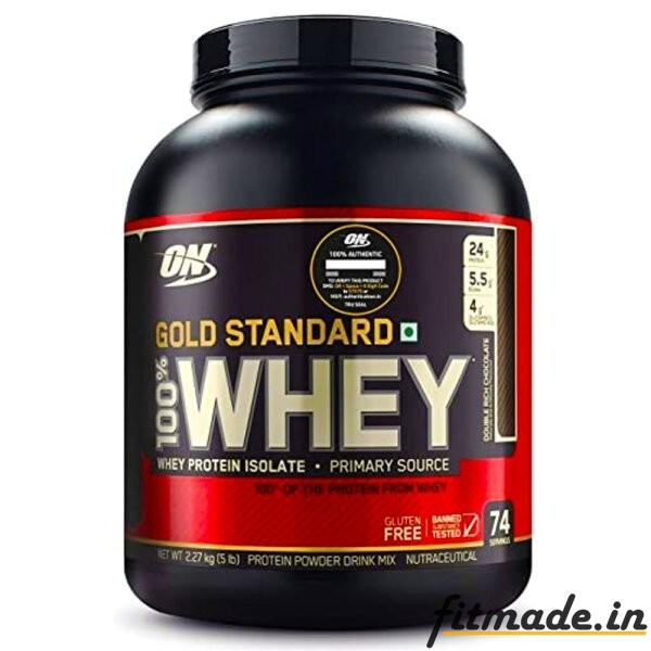 Optimum Nutrition gold standard 100% whey protein isolate primary source 5lbs 73 serving flavour chocolate