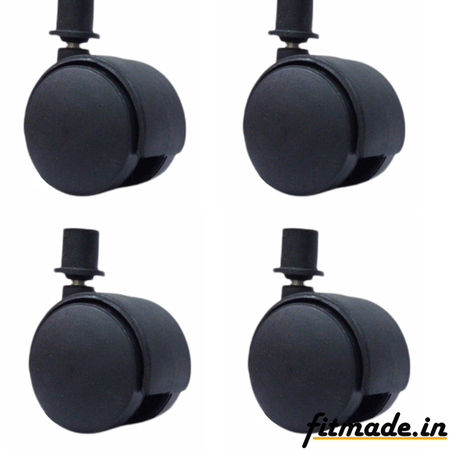 """Fitmade Symphony Cooler Wheels 2"""" Inch, Size 19mm, Set of 4, Black Colour"""