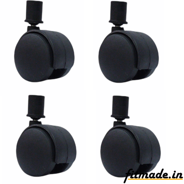 """Fitmade Symphony Cooler Wheels 2"""" Inch, Size 16mm, Set of 4, Black Colour"""