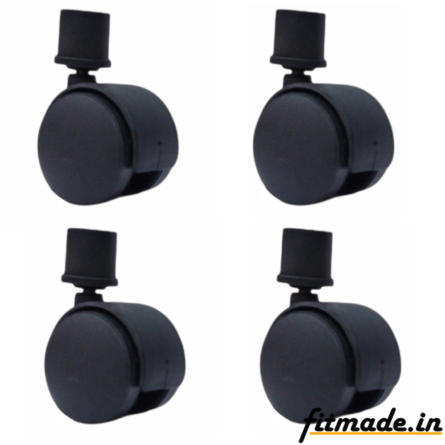 """Fitmade Symphony Cooler Wheels 2"""" Inch, Size 25mm, Set of 4, Black Colour"""
