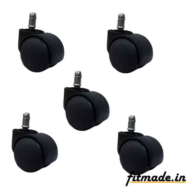 Fitmade Heavy Duty Revolving Chair Wheels Pin Type Twin Castor Wheels for Chairs/Furniture, Black (Set of 5 Pcs)